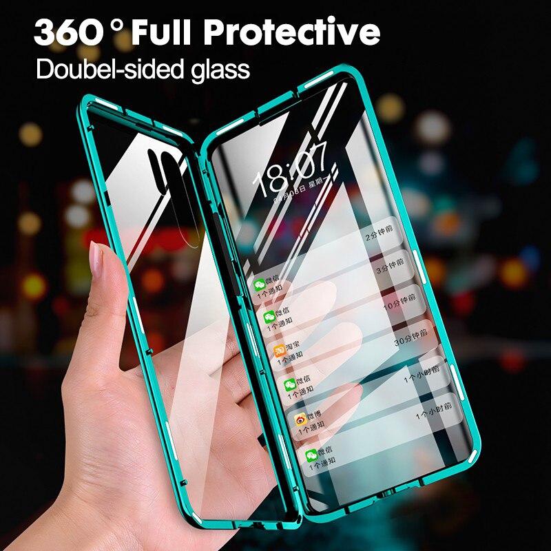 360 proteção completa caso magnético para huawei p40 p30 p20 pro lite nova7 6 5 pro honra 30 20 10 9x 8x pro amortecedor de vidro duplo