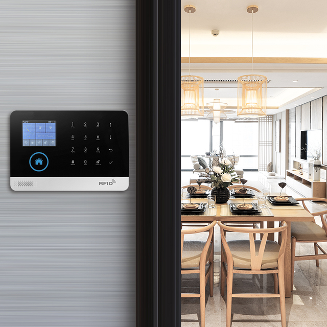 GauTone PG103 Tuya GSM Alarm System Wireless Home Security with WiFi IP Camera Smoke Detector RFID card Arm Disarm 2