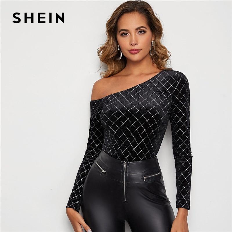 SHEIN Black Asymmetrical Neck Glitter Plaid Velvet Top Women Spring Tee Rhinestone Detail Slim Fit Glamorous Sexy T-shirts 1