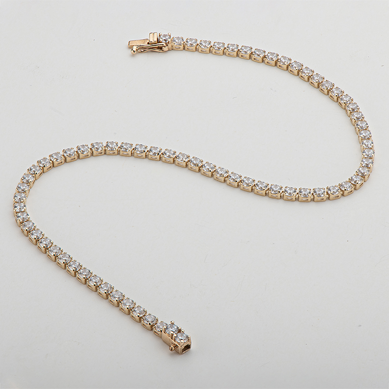 "AINUOSHI 14K Yellow Gold 2.1mm Round Cut SONA Diamond Trendy Tennis Bracelet for Women Hip Hop 1 Row Charm Bracelet Jewelry 7"" 4"