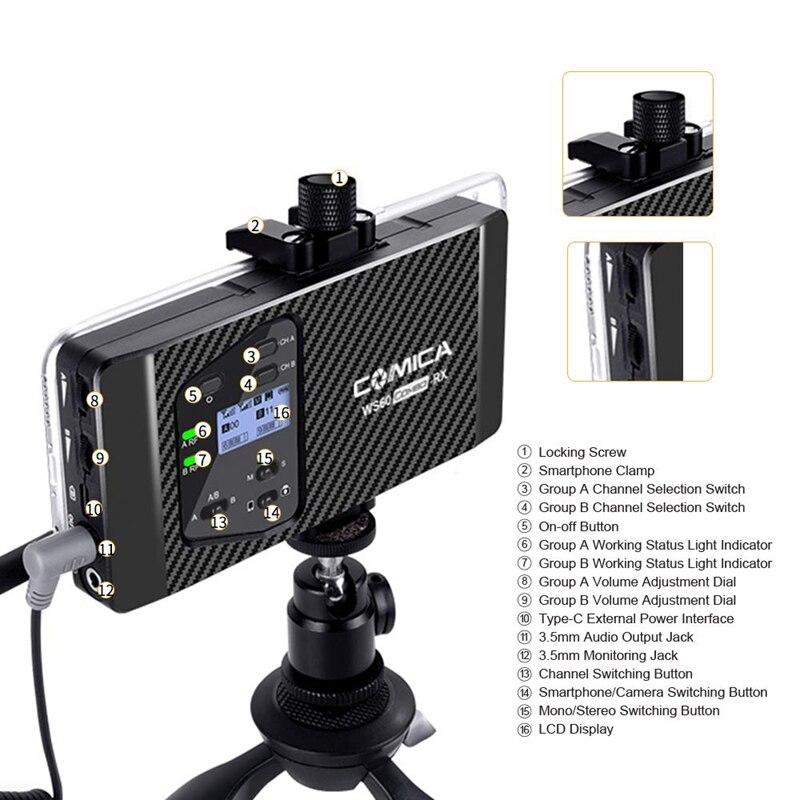 Comica Cvm Ws60 Mini Drahtlose Mikrofon System (Zwei Sender Ein Empfänger) für Smartphones und Kameras, uhf 12 Kanäle 60 M - 2
