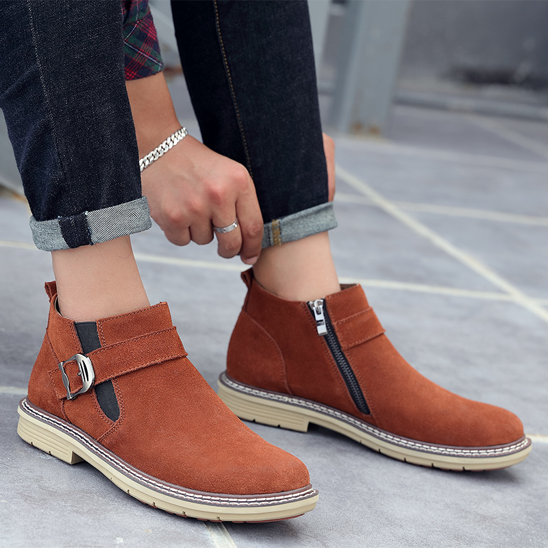 Autumn Winter Sneakers Men Shoes Leather High Top With Fur Plush Warm Casual classic big size 11 Comfortable Male  Footwear 2019 thumbnail