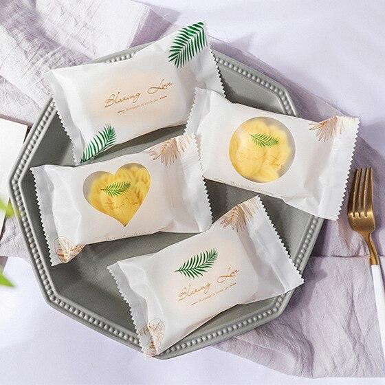 Green Leaf Opp Bag Cake Packa Fresh Candy Sealing Bag Nougat Baking Packaging Cookie Bag Bustine Trasparenti Confezioni 100pcs