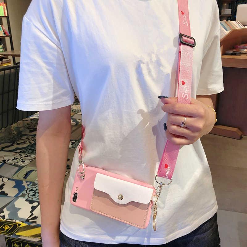 Ainike Cho Apple 11Pro Max Dễ Thương Ví Đồng Xu Ví Đựng Thẻ Mềm TPU Ốp Lưng Điện Thoại Iphone 5 5S SE 6 plus 7Plus 8P XR XS Max Có Dây Đeo