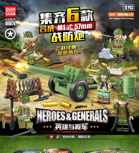 6pcs LegoINGlys Military WW2 Figures German Army Antiaircraft Gun Soldier Weapon Building Blocks Bricks Action Toys Kid GiftsModel Building