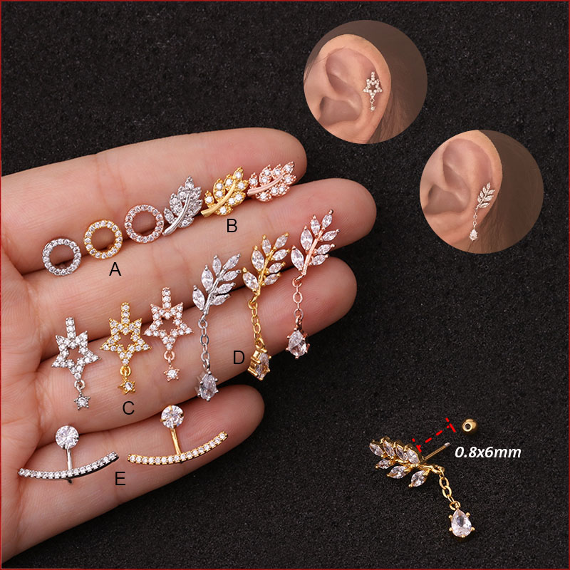 1Pc New 3 Color Long Cz Cartilage Earring Piercing 20g 0.8*6mm Helix Piercing Jewelry Conch Rook Lobe Tragus Stud Piercing