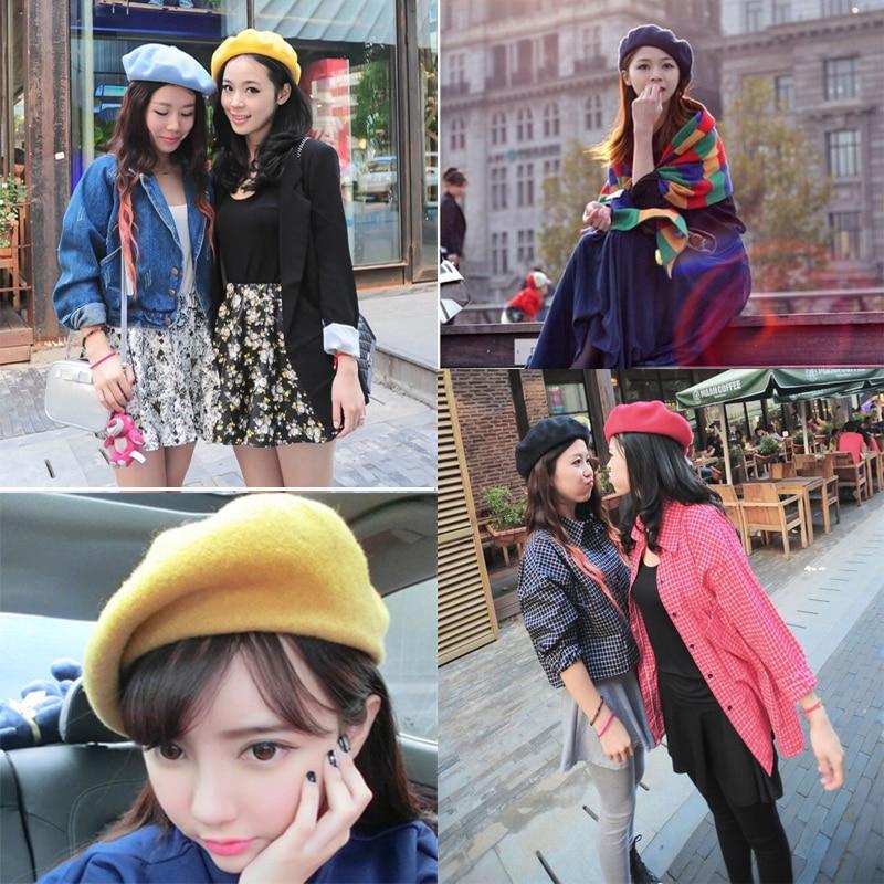 Французский стиль, однотонная Повседневная винтажная женская шапка, берет, простая шапка, для девушек, шерсть, Теплые Зимние береты, шапки бини, Femme Aldult cap s