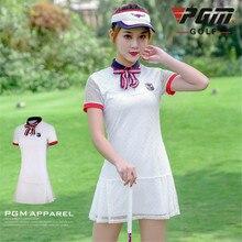 Гольф платья Высокая талия кружева тонкий короткий рукав спортивное платье теннис платье для девочек Женская спортивная одежда