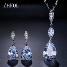 ZAKOL Brand Water Drop Zirconia Jewelry Set High Quality CZ Crystal Stone Earrings & Pendent Necklace Set For Women Girl FSSP363(China)
