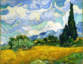 Vincent van Gogh Wheatfield con cipreses de pintura de seda arte impresa en la pared arte para la decoración del dormitorio de la sala de estar