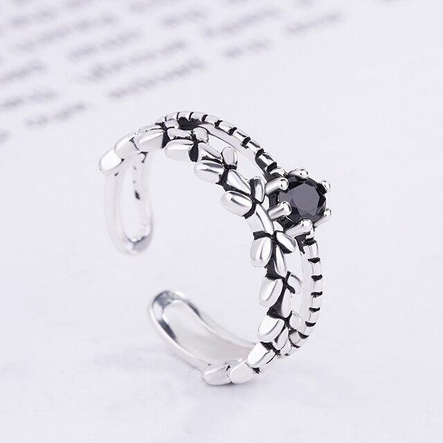 100% 925 فضة خاتم قابل للصف الماس الزركون من النجوم حول خواتم الاصبع للأزياء الجديدة النساء مجوهرات الزفاف هدية
