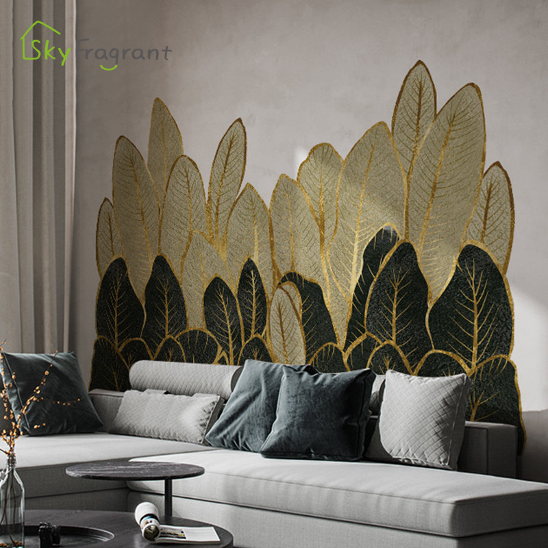 Hojas verdes doradas, pegatinas para pared, decoración del hogar, sofá, sala, decoración de pared de fondo de TV, decoración del dormitorio, Pegatina autoadhesiva|Adhesivos para pared|   - AliExpress