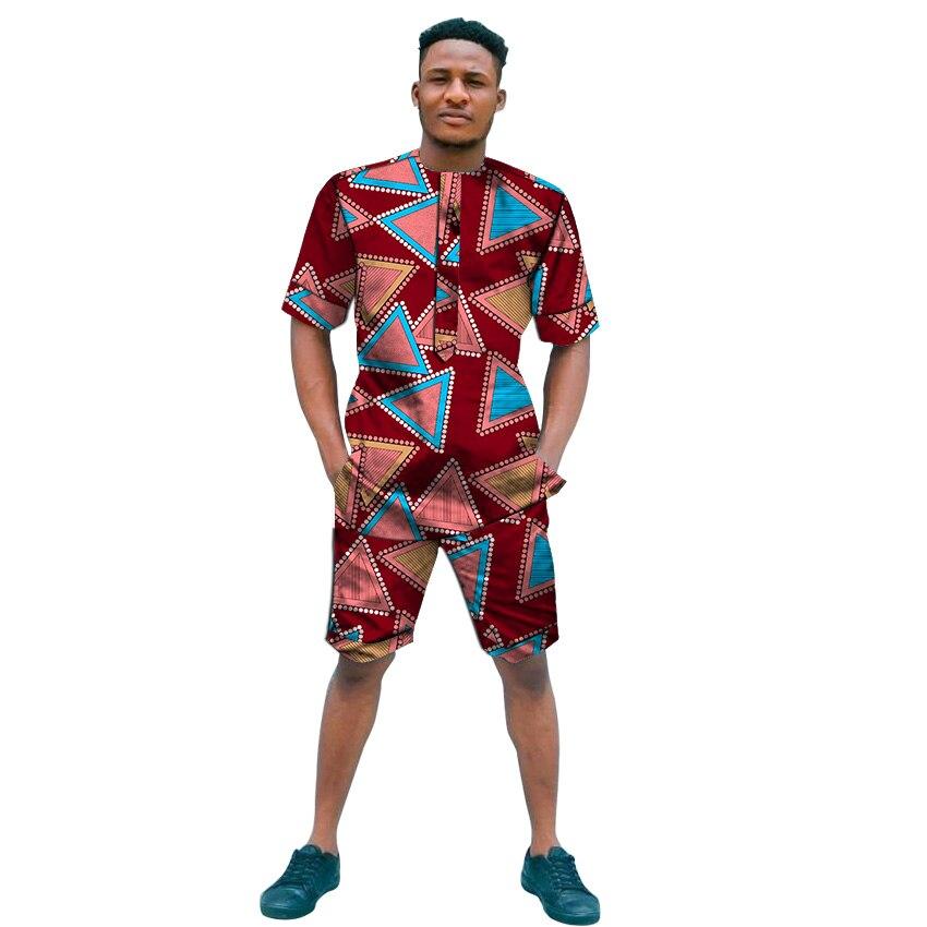 Fashion Print O-neck Shirts With Shorts Custom Made Summer Shorts Set Groom Suits Male Ankara Outfits Dashiki African Clothes