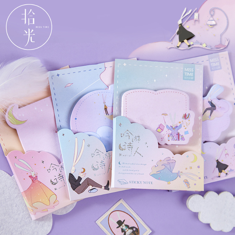 1pack /lot  Aura Girl Series N-times Stickers Note Paper Memo Pad Stickers Kawaii Stationery School Supply