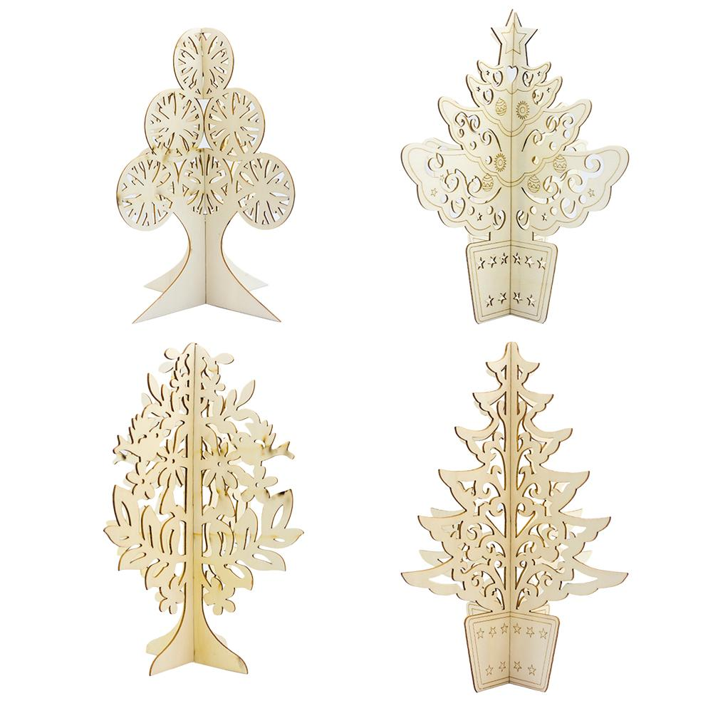 Christmas Decorations Wooden Three-dimensional Hollow Carved Desktop Tree Ornaments