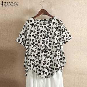 Женская винтажная блузка с цветочным принтом ZANZEA, Повседневная Туника с коротким рукавом, 5XL, 2020