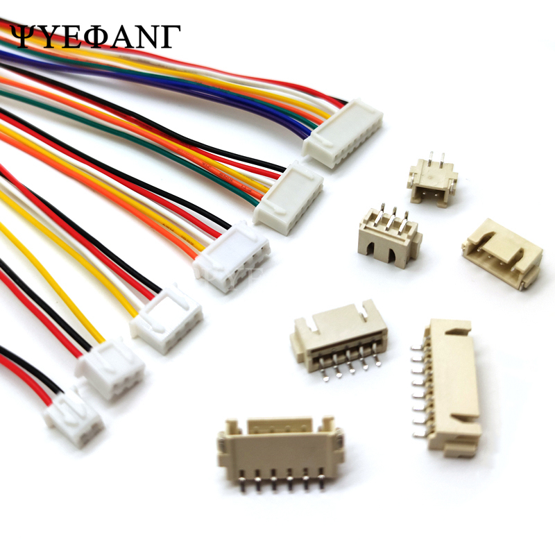 10Sets= 10pcs XH2.54 <font><b>XH</b></font> <font><b>2.54mm</b></font> Wire Cable 20cm + 10pcs JST Plug Connector 2/3/4/5/6/7/8 Pin SMD Horizontal Plug Socket 26AWG image