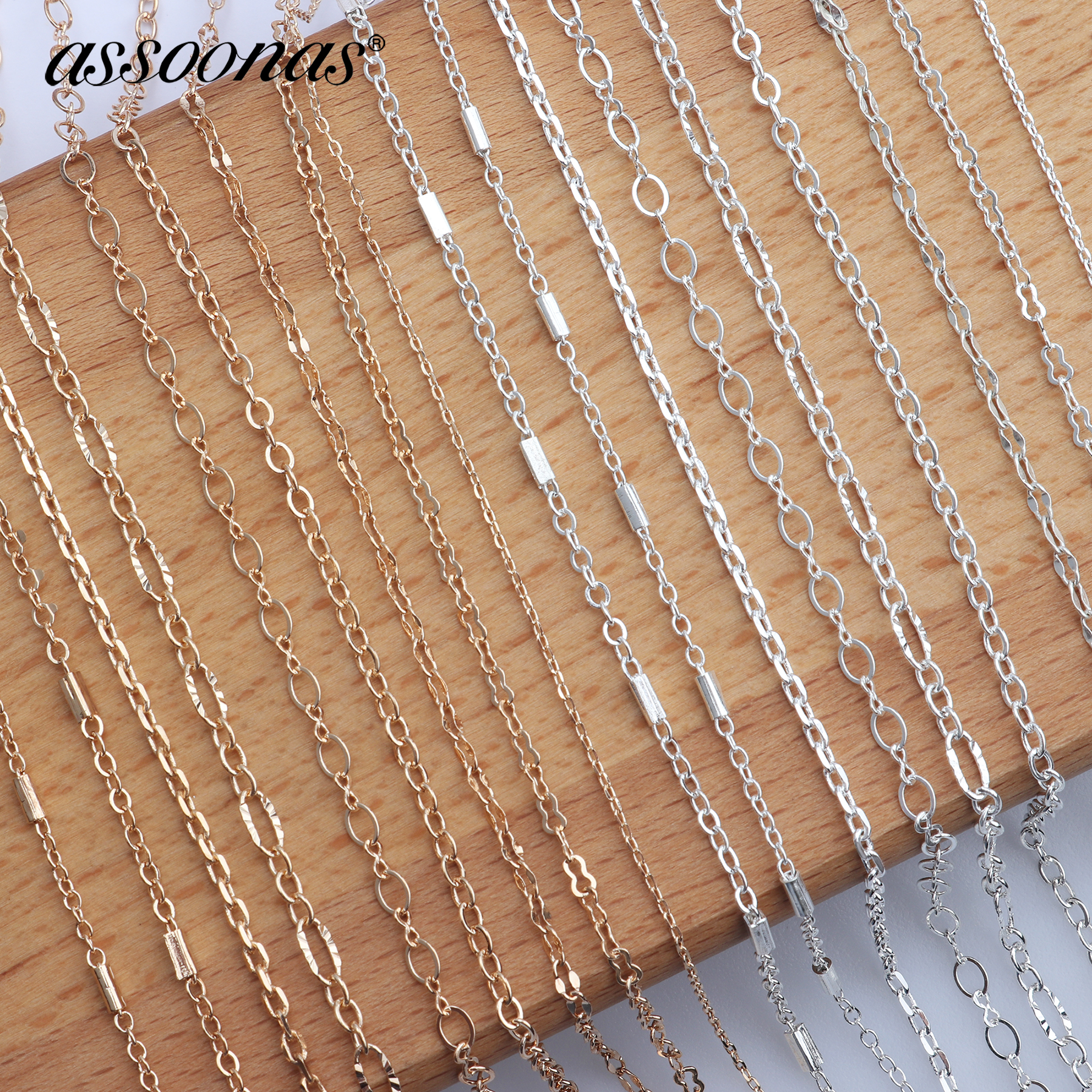Assoonas Chain Jewelry Findings Jewlery-Accessories Materials Silver Golden C42 5m/Lot title=