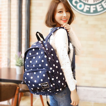 New Style Black Polka Dots Backpack Fashion Canvas Backpacking Bag Best School Daypack Backpacks for Teen Girls