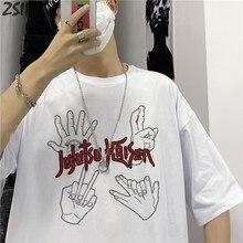 Męska koszulka Jujutsu Kaisen letnia moda fajna Unisex koszulka z krótkim rękawem Yuji Itadori Anime z nadrukiem Streetwear koszulka na co dzień