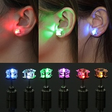FEECOLOR Unique boys girls LED Light Christmas Gift Halloween Party Square Night Bling Studs Earrings fashion jewelry