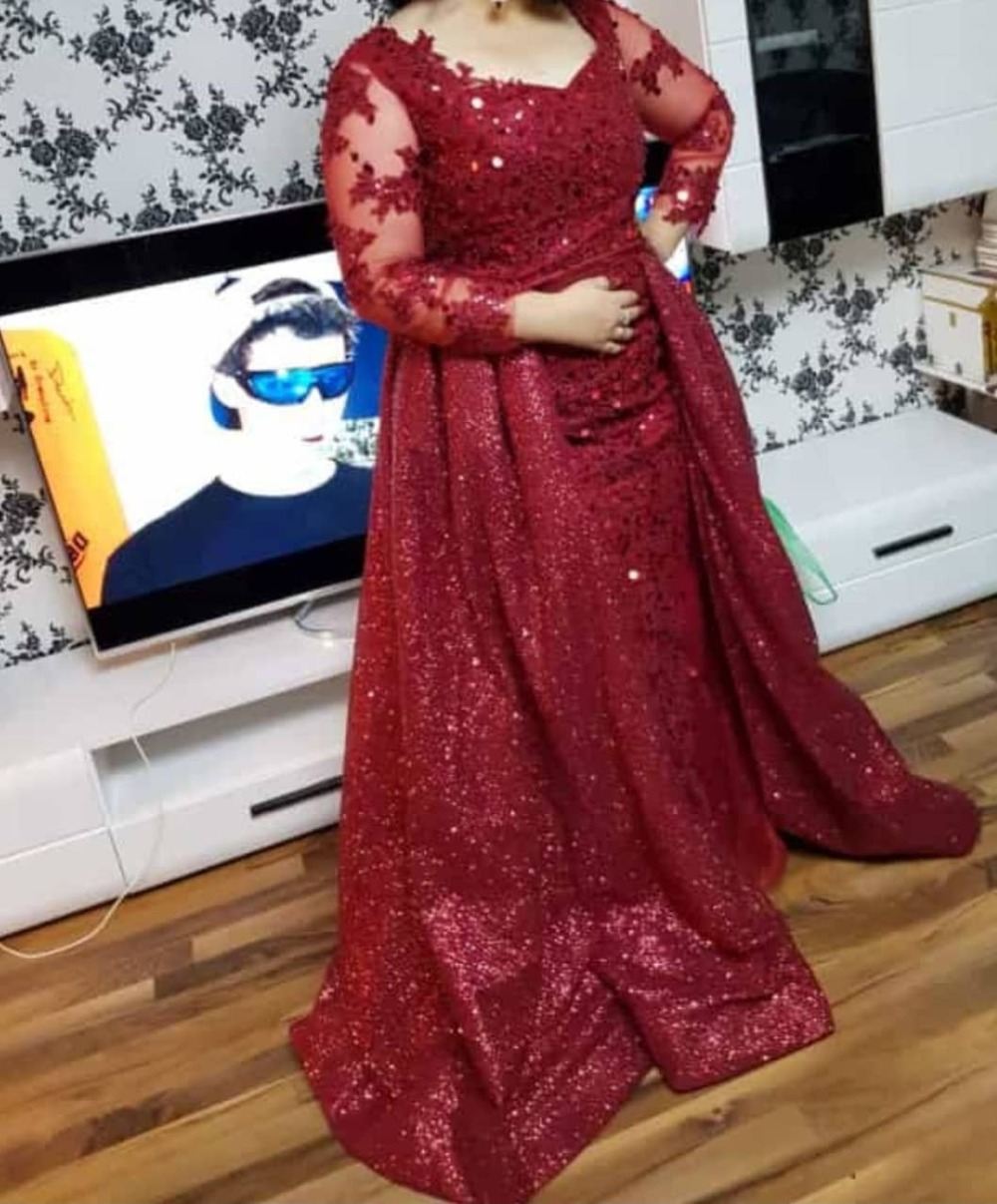 New Arrival Dubai Red Luxury   Evening     Dresses   2019 Arabic Long Sleeve Lace Detachable Tail Mermaid   Dress   Sequin   Evening   Gowns