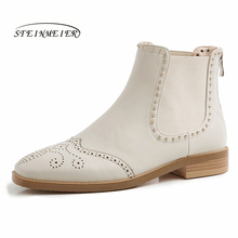 Women Genuine leather Ankle Boots Motorcycle zipper Boots Winter laces Leather Flat heel short thick heel shoes Boots 2019 student hairy flat bottom warm short boots women winter thickening martin boots black white tie leather flat heel women boots