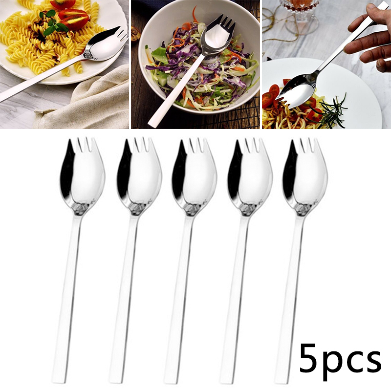 5Pcs Stainless Steel Spork Soup Salad Noodle Spoon Fork Cutlery Combo Set