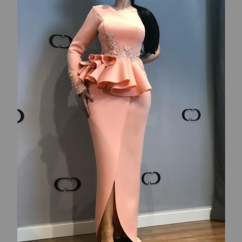 African Evening Dresses One Shoulder Lace Appliques Peplum Mermaid Prom Dress Front Split Satin Plus Size Party Gowns Vestidos