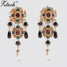 Ztech Big rhinestone dangle earrings for women fashion statement crystal tassel earring
