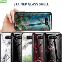 For LG G5 Luxury Marble Pattern Gradient Tempered Glass Back Cover For LG G5 Case H830 H860 VS987 Soft TPU Edge Shell Case Cover tpu case for lg g5 colorful dot pattern phone protective shell
