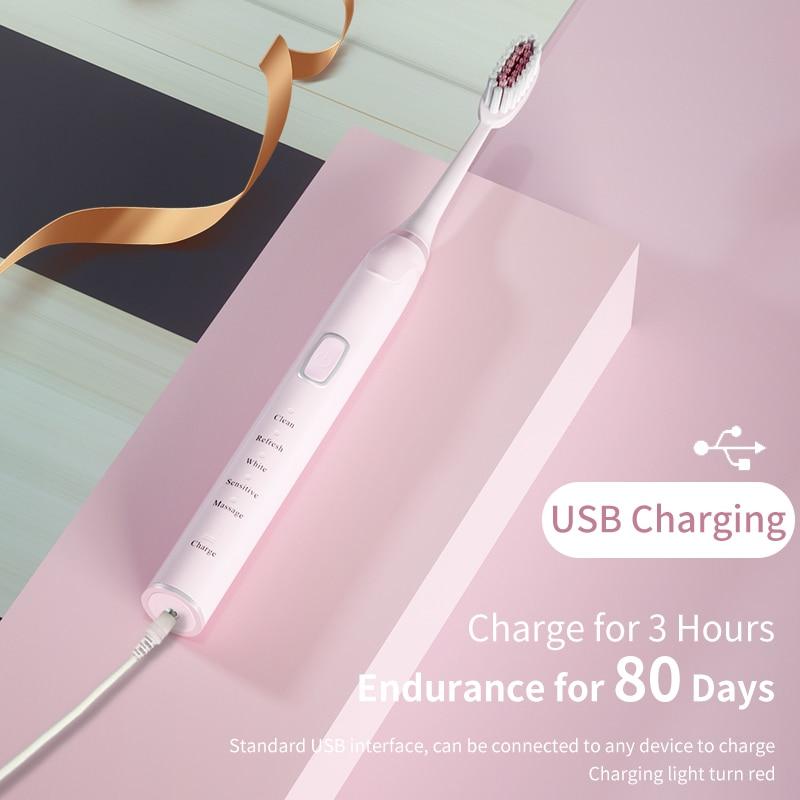 mijia usb recarregavel escova de dentes eletrica ultra sonica 5 cabecas 5 modos 2 intensidade vibracao