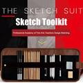 21/29 pièces croquis dessin Art ensemble d'outils avec crayons de charbon de bois croquis outils dag ship|Sets d'outils| |  -