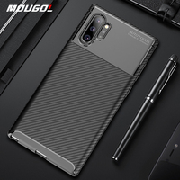 Funda de lujo de fibra de carbono para Samsung Galaxy Note 10 Plus, carcasa protectora completa 360 para Samsung Note 10 +, parachoques