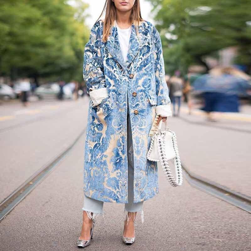 2019 Autumn Casual   Trench   Coat Women Pattern Long Coat Outwear Turn-Down Collar Long Sleeve Print Fashion Coat