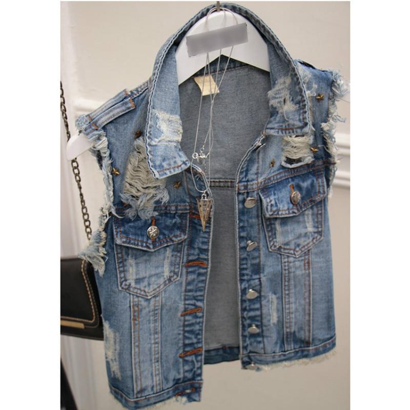 Jeans com Buracos de Rebite Vintage sem Manga Solto sem Manga Colete Feminino Jaqueta Lantejoulas 2020
