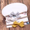 3 предмета в комплекте, с бантиком и цветочками для детей, повязка на голову, повязка для малышей для девочек нейлоновые повязки на голову тю...