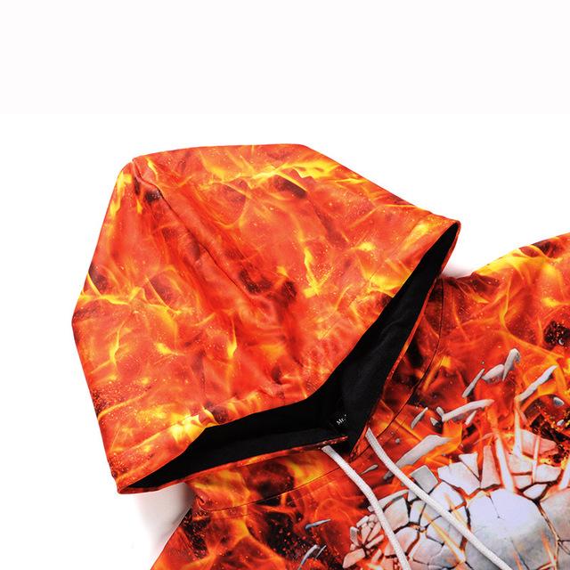 3D FIRE SKULL HOODIE