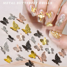 50 adet Metal alaşımlı kelebek tasarım 3D Nail Art süslemeleri Charm Pixie takı mücevher japon tarzı manikür tasarım aksesuarları