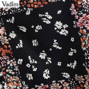 Image 3 - Vadim femmes rétro fleur patchwork blouse poche décorer à manches longues chemises femme décontracté élégant hauts blusas LB746