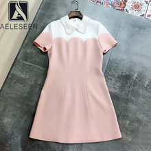 AELESEEN Sweety Party Mini Dress Runway Fashion Summer Dress Women High Quality Contrast Color Lace Beading Collar Elegant Dress