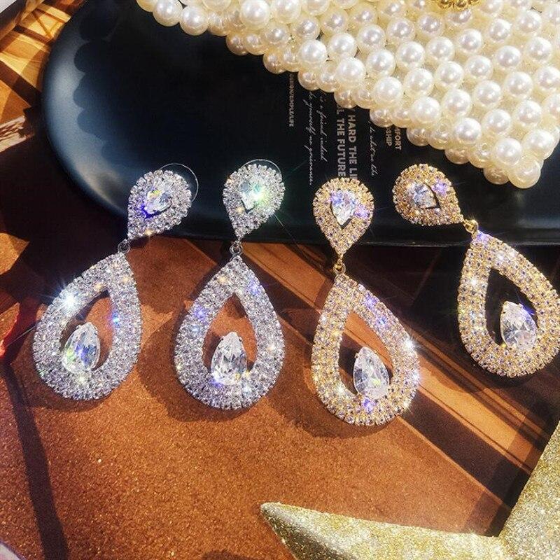 Luxury Large Vintage Water Drop Trendy Crystal Big Rhinestone Earring