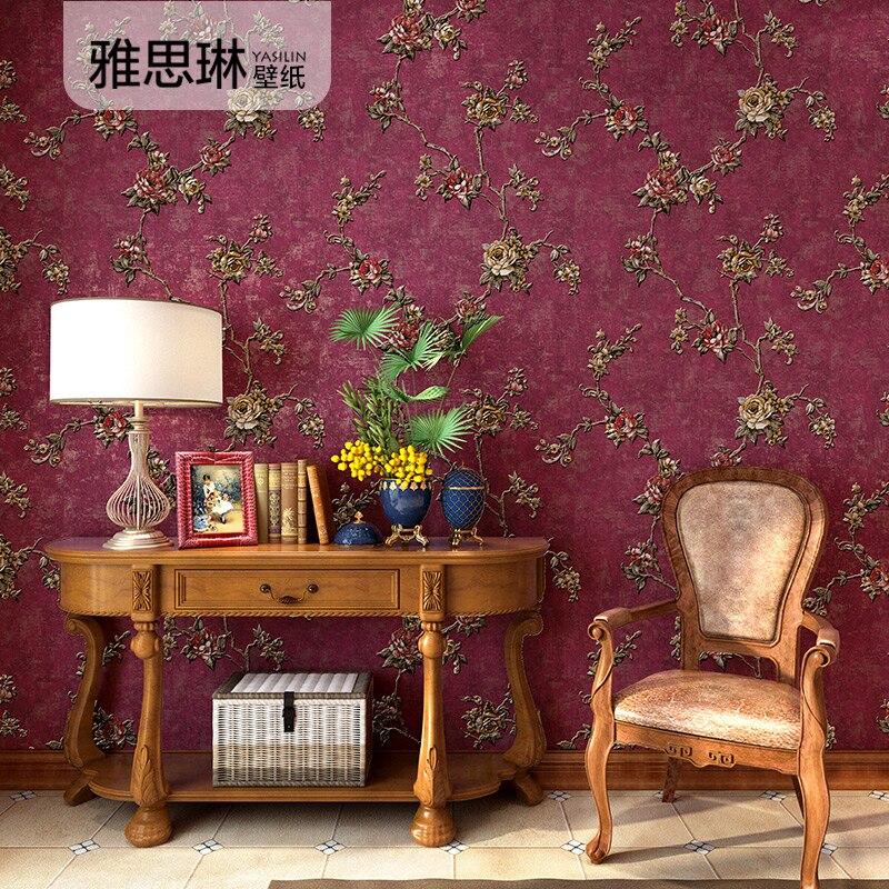 Bonne qualité pays américain papier peint rural petite fleur non-tissé rétro chambre salon fond mur frais papier peint