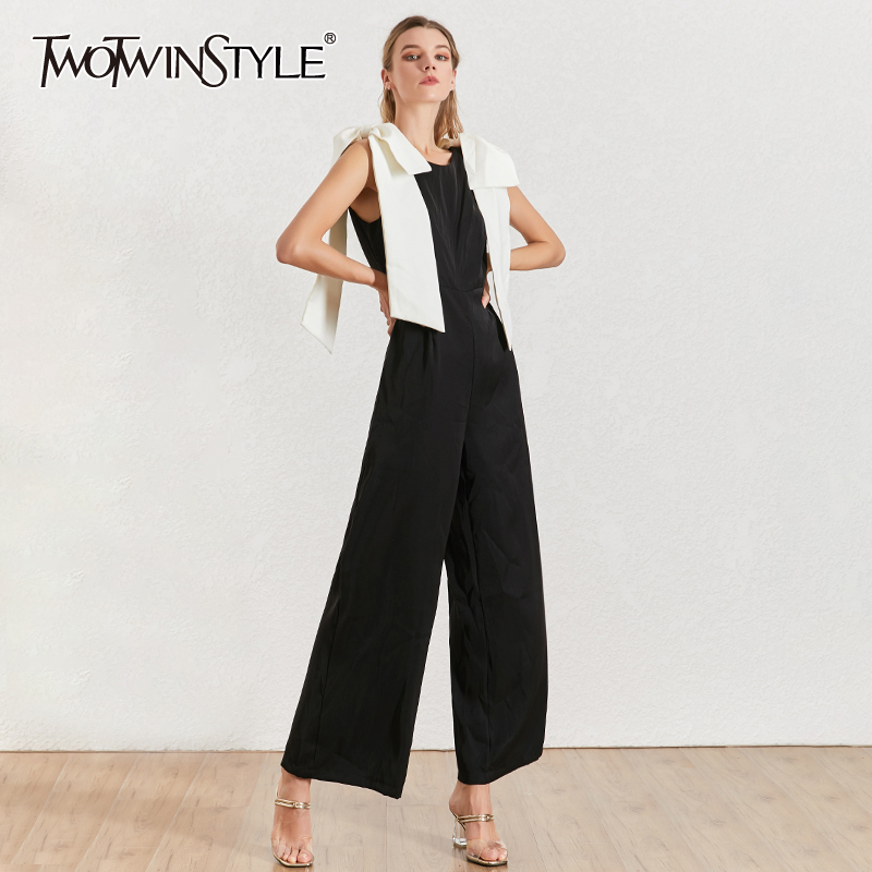 TWOTWINSTYLE Bowknots Patchwork Women Jumpsuit O Neck Sleeveless Hit Color Sexy Party Jumpsuits Female Summer Fashion 2020 New