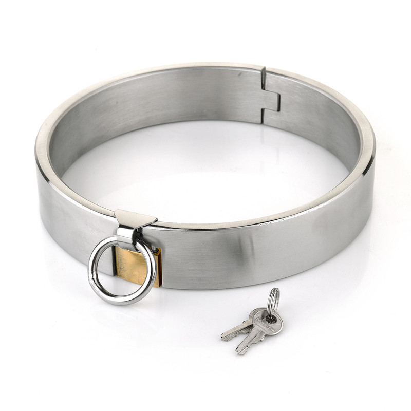 New Stainless Steel Lockable Collar Neck Bondage Choker Fetish Slave BDSM Restraint <font><b>Adult</b></font> <font><b>Games</b></font> <font><b>Sex</b></font> <font><b>Toys</b></font> <font><b>For</b></font> Women Man <font><b>Couples</b></font>. image