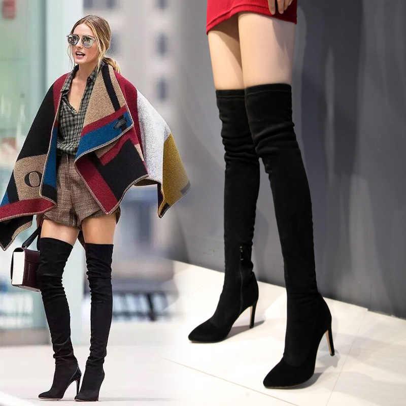 Kadın ayakkabısı Tek Çizmeler Süper Yüksek Keskin Overknee Çizmeler Hakiki Deri Bayan Botları