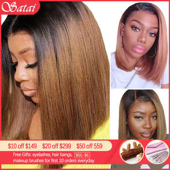 Satai Short Bob Wigs Lace Front Human Hair Wigs 13x4/13x6 Human Hair Wigs Brazilian Remy Ombre Bob Lace Front Wigs 150% Density - DISCOUNT ITEM  51% OFF All Category