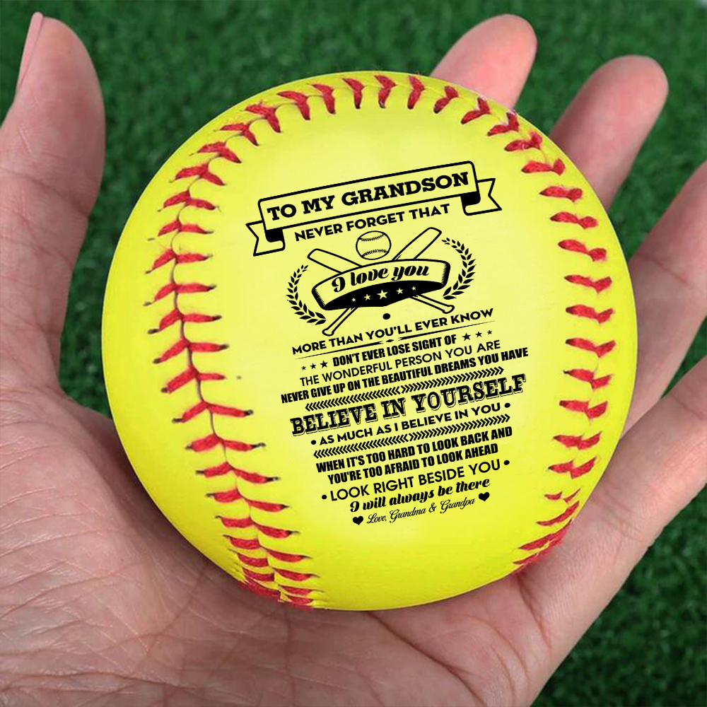 Grandpa And Grandma To My Grandson I Will Never Outgrow A Place In Your Heart – softball Birthday Graduation Christmas Gift.