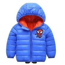 Пальто для маленьких девочек; сезон осень-зима; куртки для маленьких мальчиков; пальто для мальчиков; детская хлопковая теплая верхняя одежда с капюшоном «Человек-паук»; детская одежда