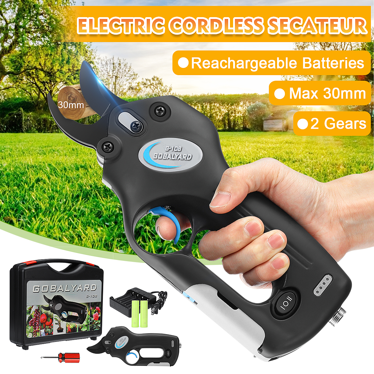 Rechargeable Electric Pruning Scissors Pruning Shears Garden Pruner Secateur Branch Cutter Cutting Tool With 2 Battery